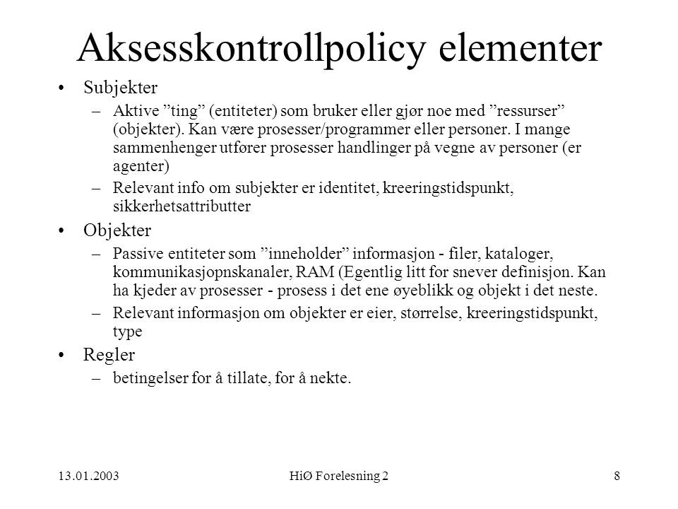 Aksesskontrollpolicy elementer