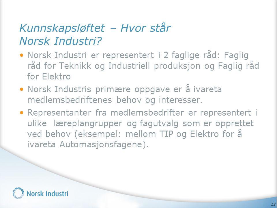 Kunnskapsløftet – Hvor står Norsk Industri
