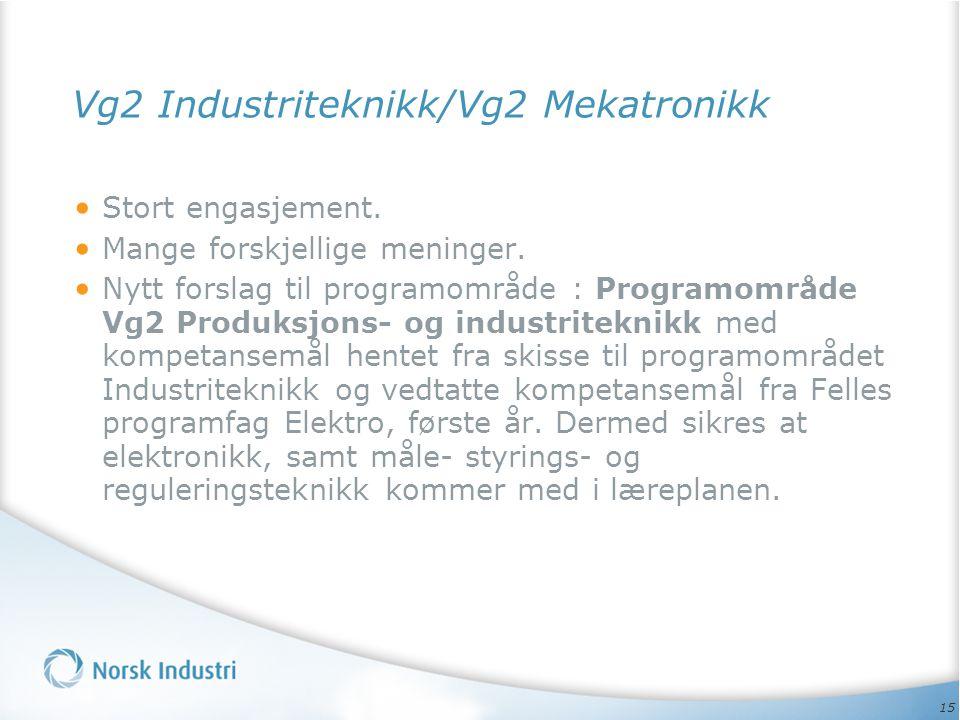 Vg2 Industriteknikk/Vg2 Mekatronikk