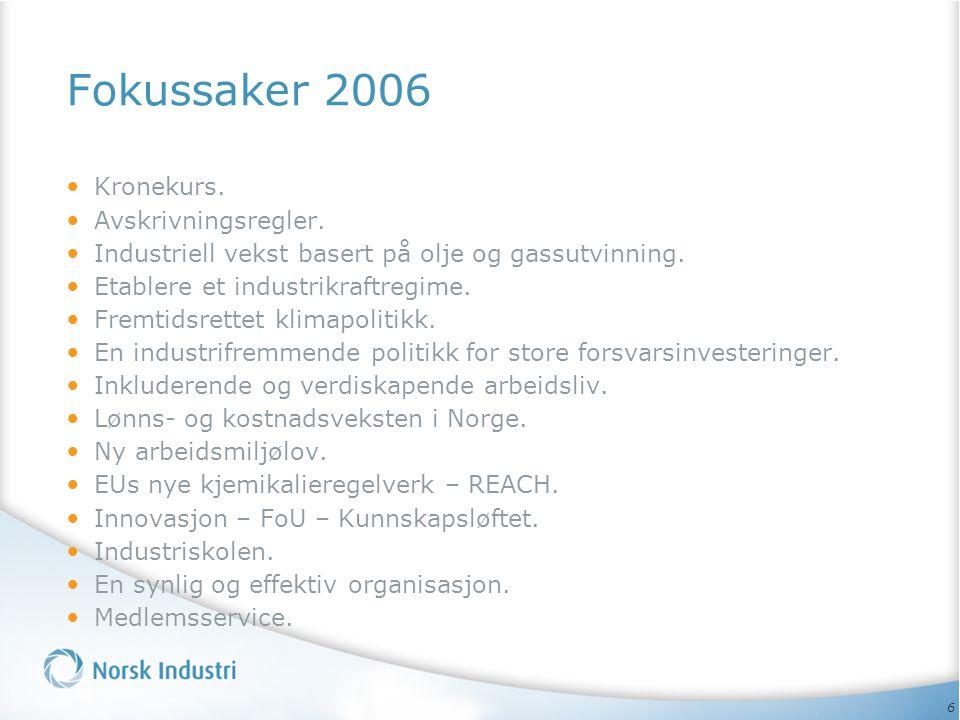 Fokussaker 2006 Kronekurs. Avskrivningsregler.