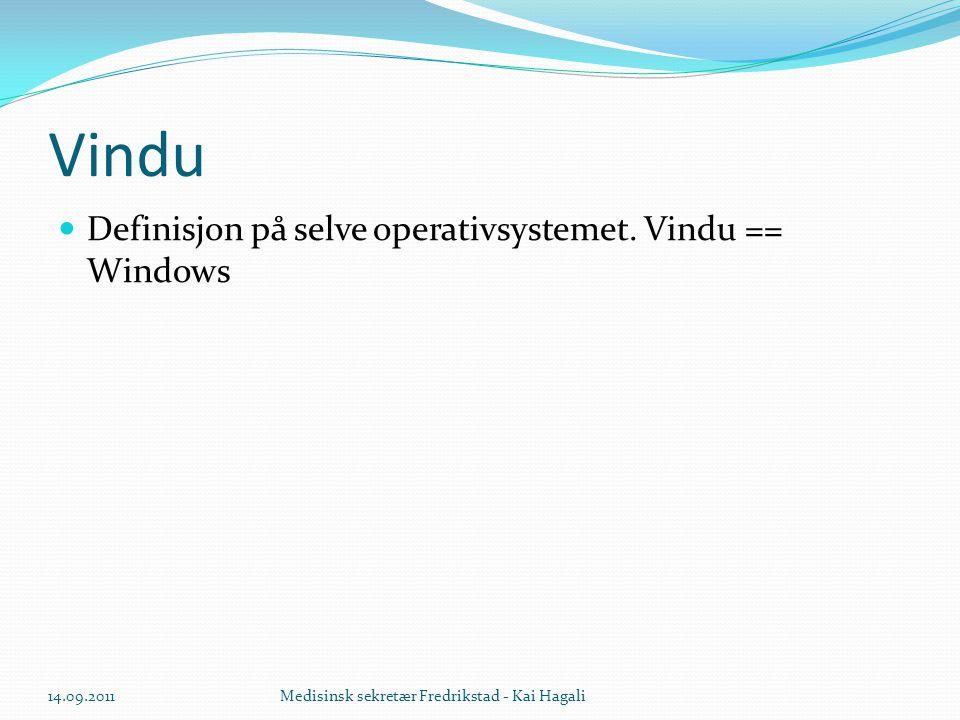 Vindu Definisjon på selve operativsystemet. Vindu == Windows