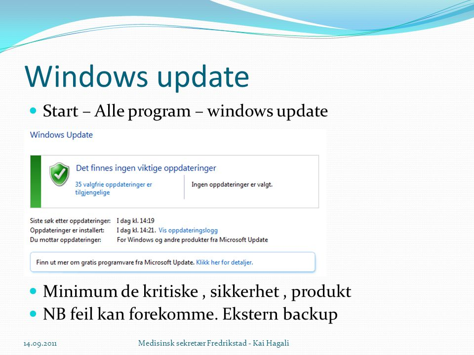 Windows update Start – Alle program – windows update