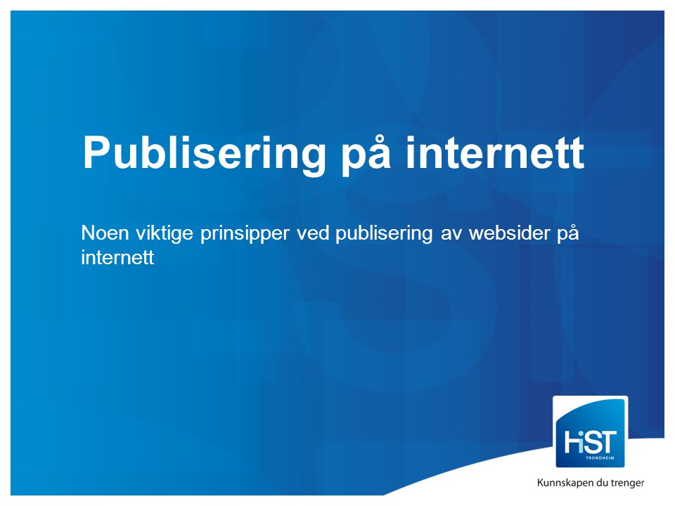Publisering på internett