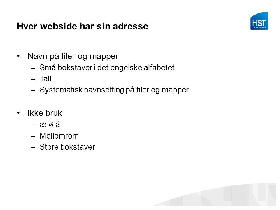 Hver webside har sin adresse