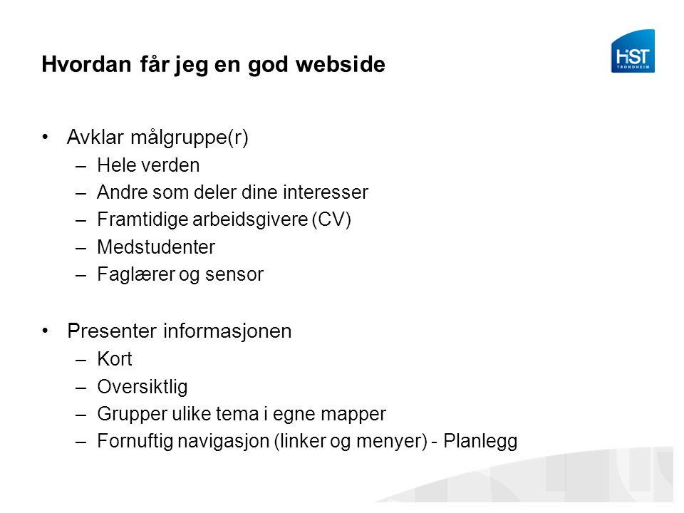 Hvordan får jeg en god webside