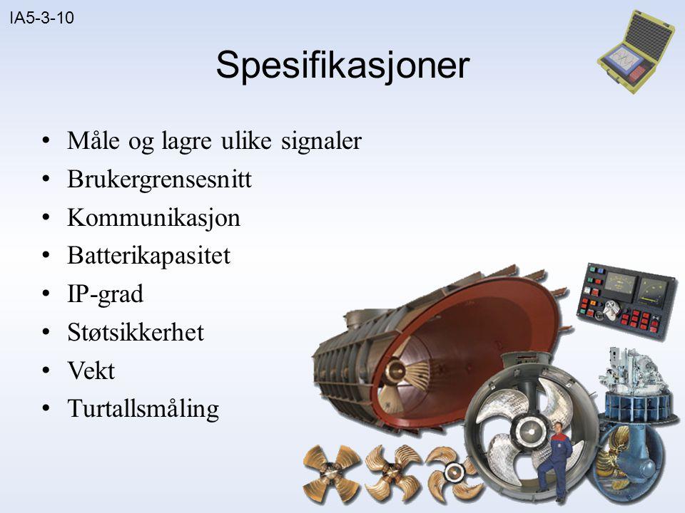 Spesifikasjoner Måle og lagre ulike signaler Brukergrensesnitt