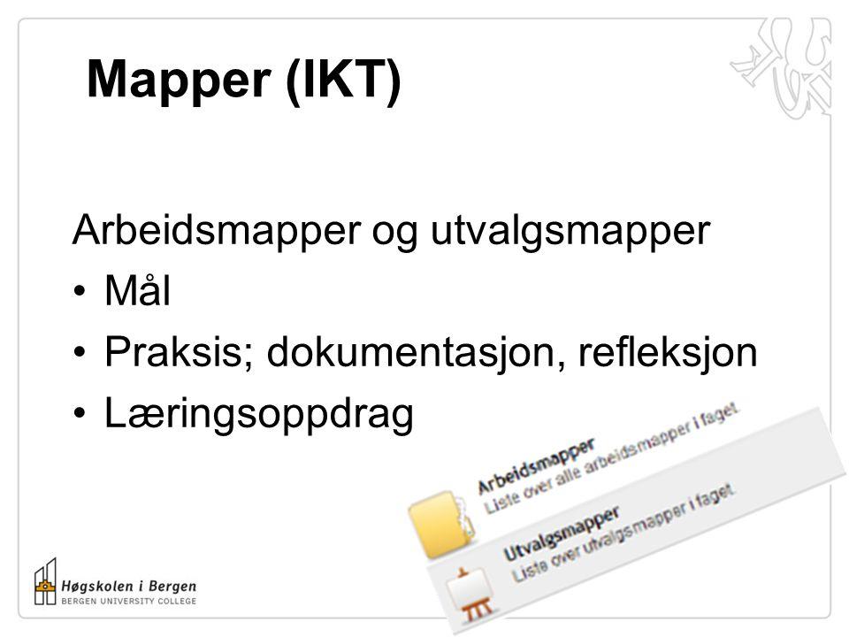 Mapper (IKT) Arbeidsmapper og utvalgsmapper Mål