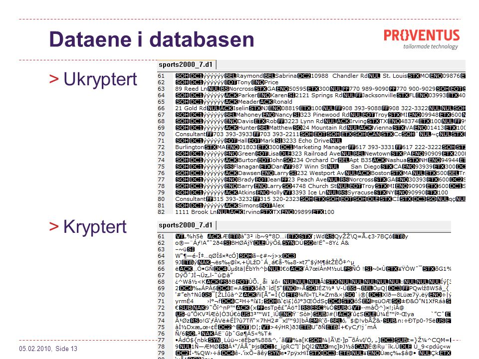 Dataene i databasen Ukryptert Kryptert 05.02.2010, Side 13