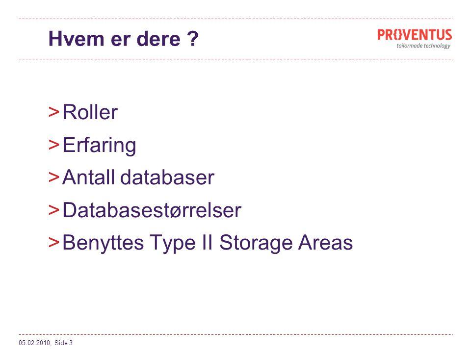 Benyttes Type II Storage Areas