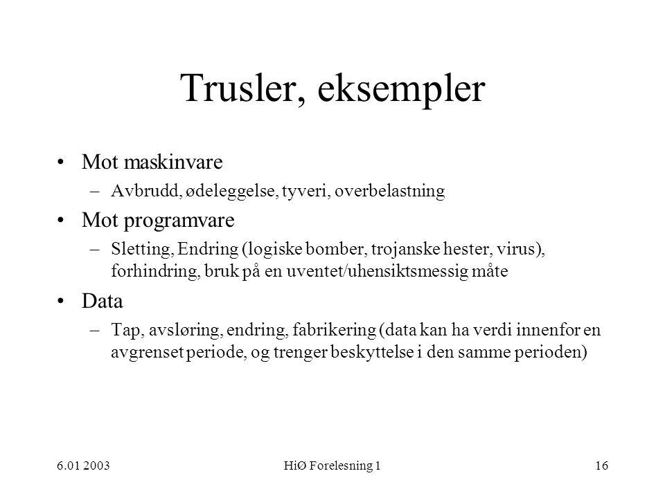Trusler, eksempler Mot maskinvare Mot programvare Data
