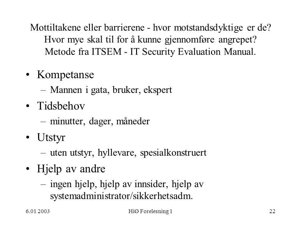 Kompetanse Tidsbehov Utstyr Hjelp av andre