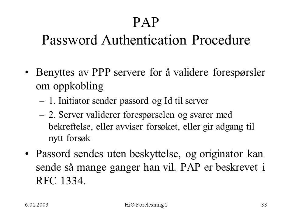 PAP Password Authentication Procedure