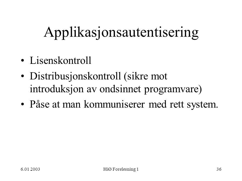 Applikasjonsautentisering