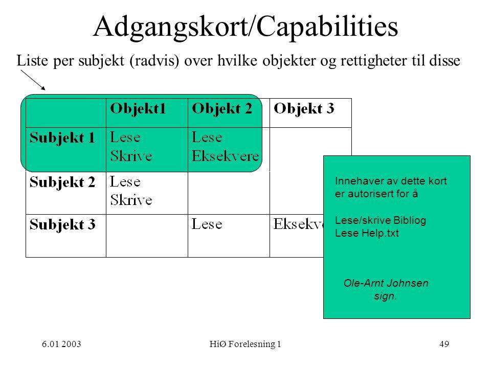 Adgangskort/Capabilities