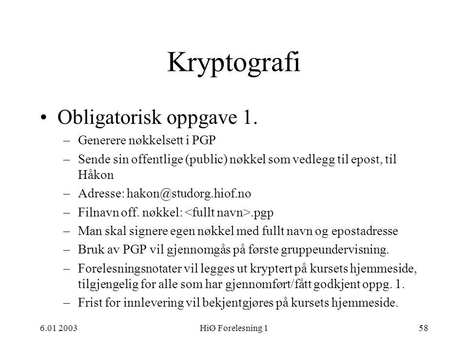 Kryptografi Obligatorisk oppgave 1. Generere nøkkelsett i PGP