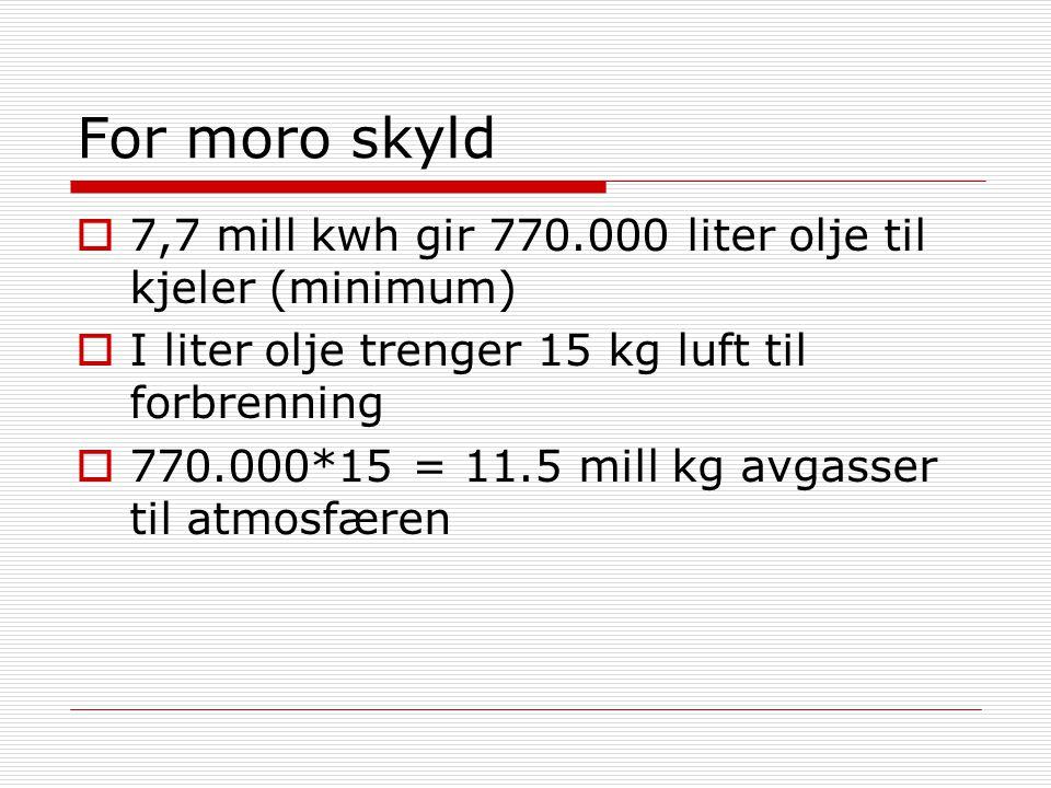 For moro skyld 7,7 mill kwh gir 770.000 liter olje til kjeler (minimum) I liter olje trenger 15 kg luft til forbrenning.