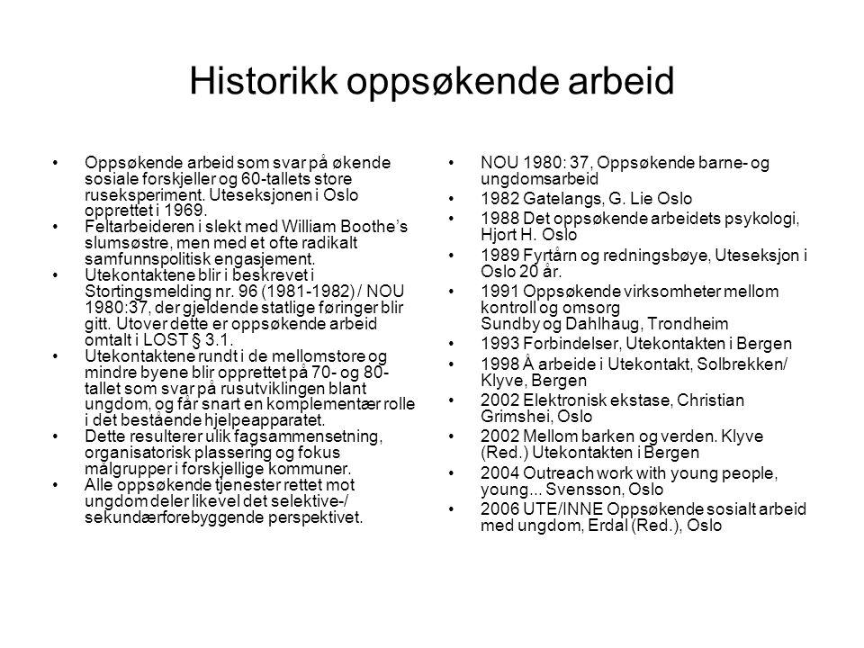 Historikk oppsøkende arbeid