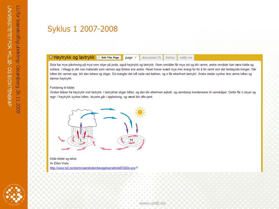 Syklus 1 2007-2008 LU for bærekraftig utvikling- Oscarsborg 26.11.2009