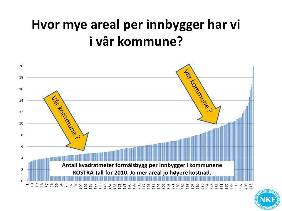 Hvor mye areal per innbygger har vi i vår kommune