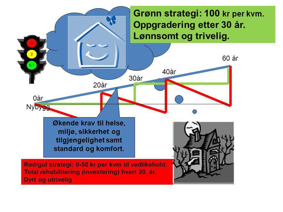 Grønn strategi: 100 kr per kvm. Oppgradering etter 30 år.