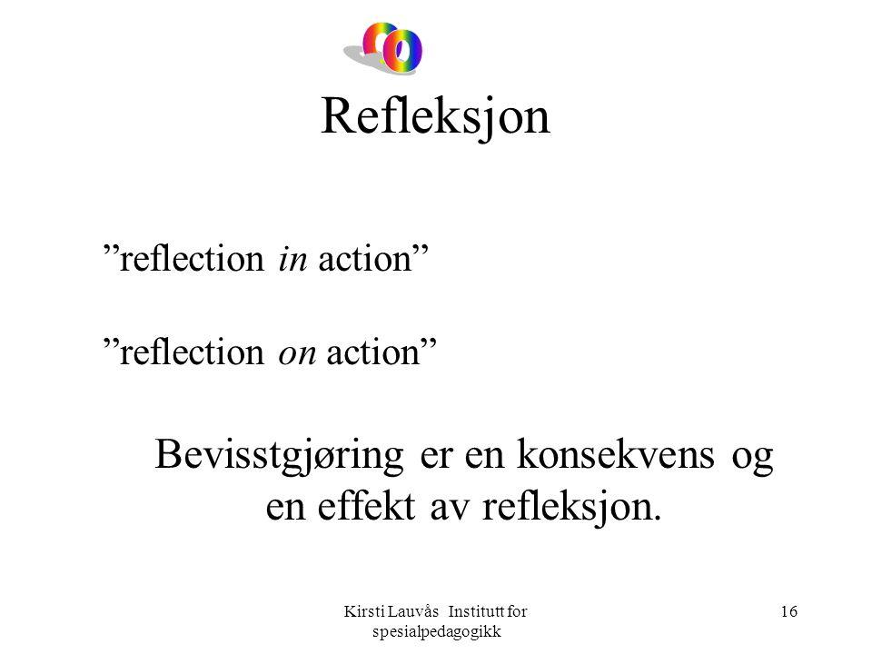 Refleksjon o Bevisstgjøring er en konsekvens og