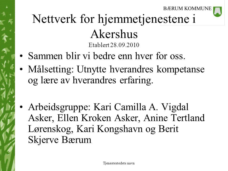 Nettverk for hjemmetjenestene i Akershus Etablert 28.09.2010