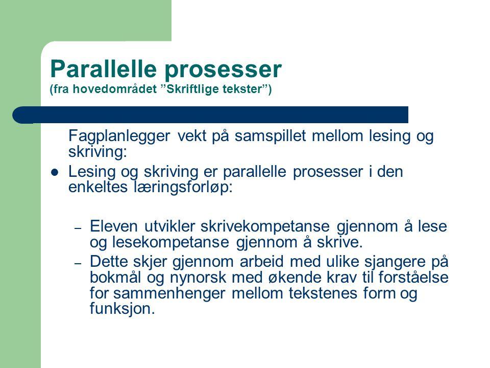 Parallelle prosesser (fra hovedområdet Skriftlige tekster )