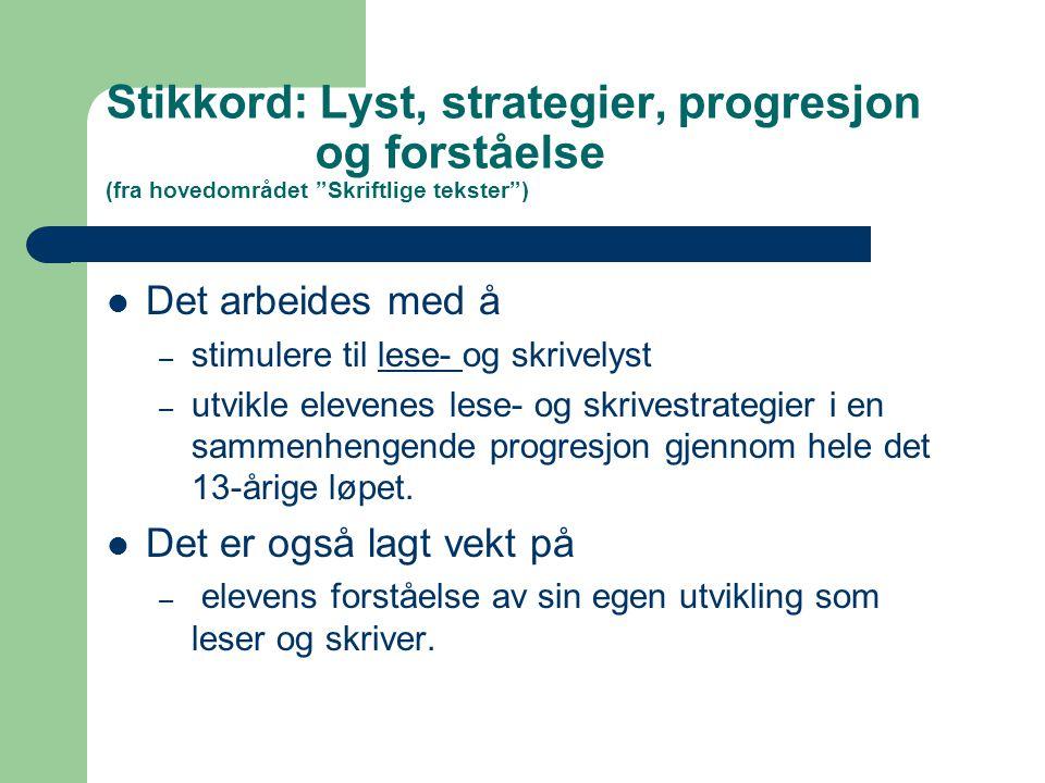 Stikkord: Lyst, strategier, progresjon