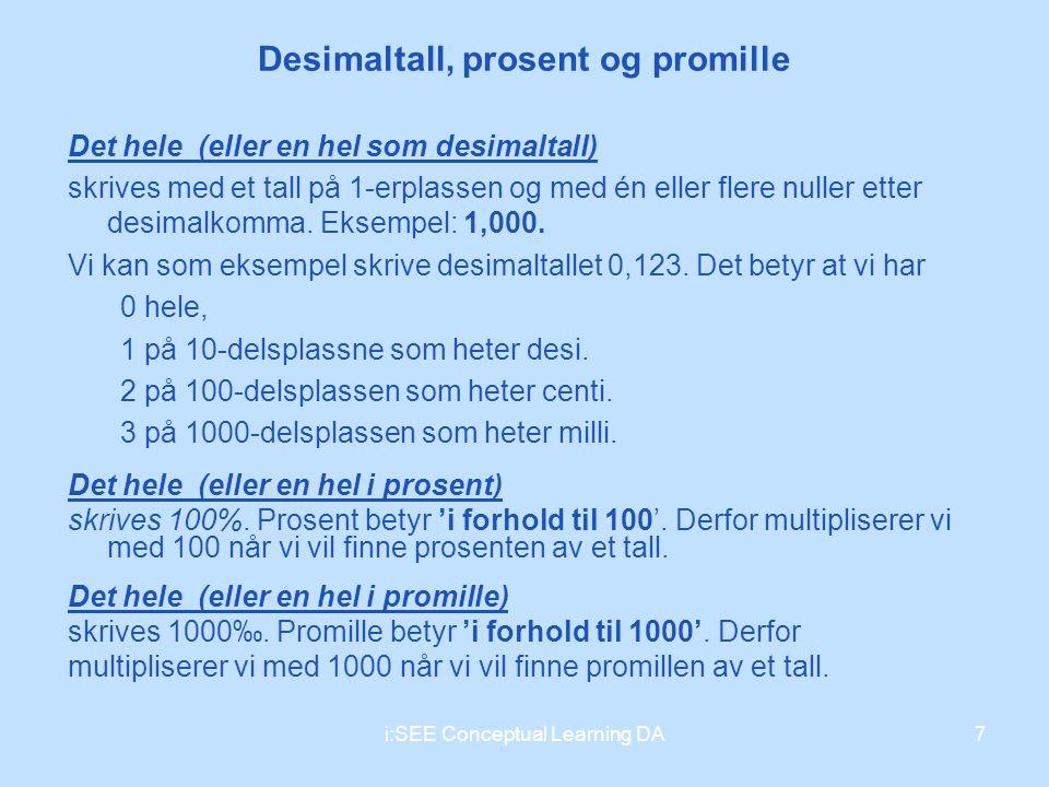 Desimaltall, prosent og promille