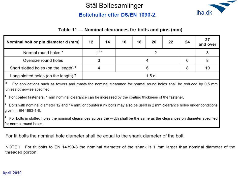 Boltehuller efter DS/EN 1090-2.
