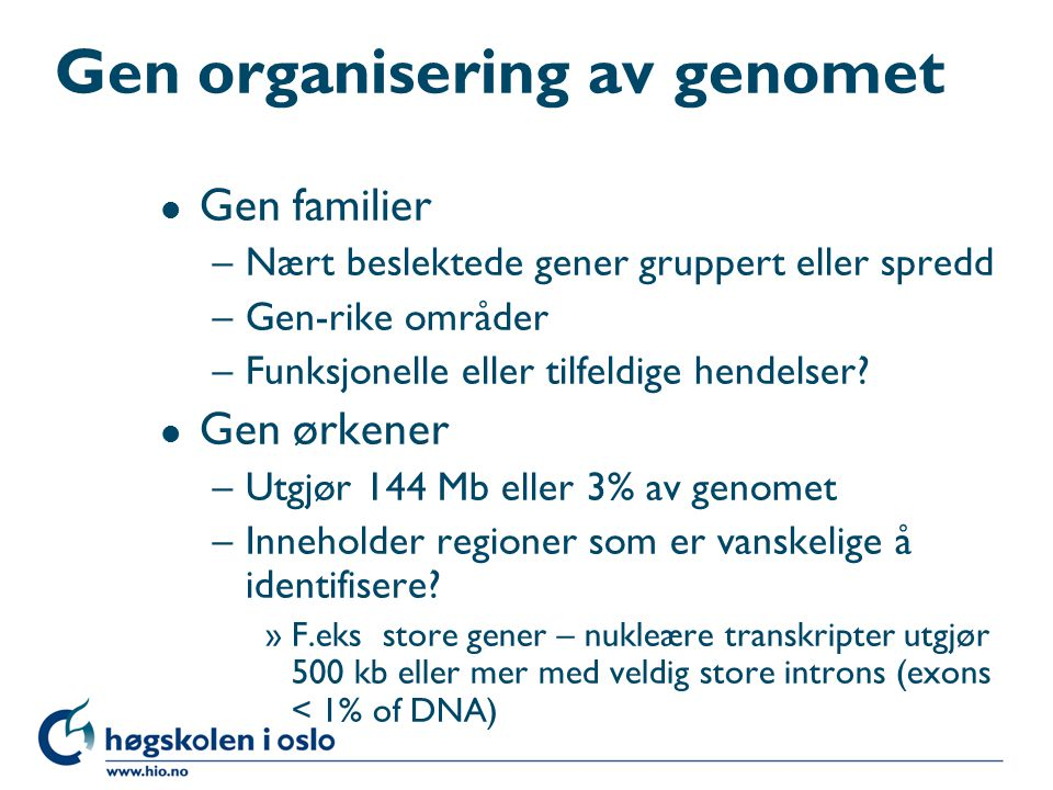 Gen organisering av genomet