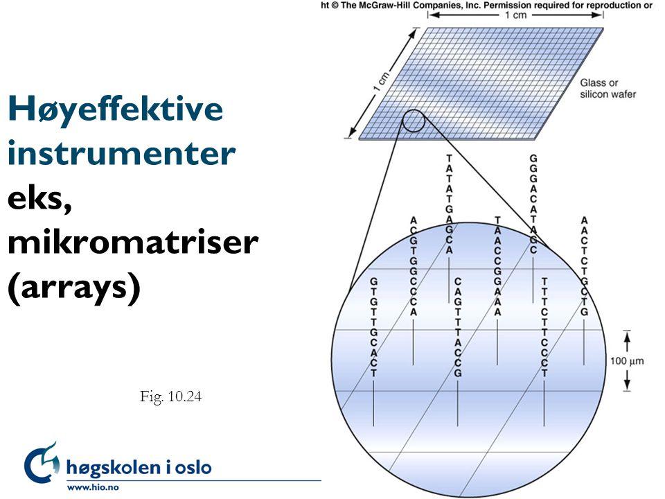Høyeffektive instrumenter eks, mikromatriser (arrays)