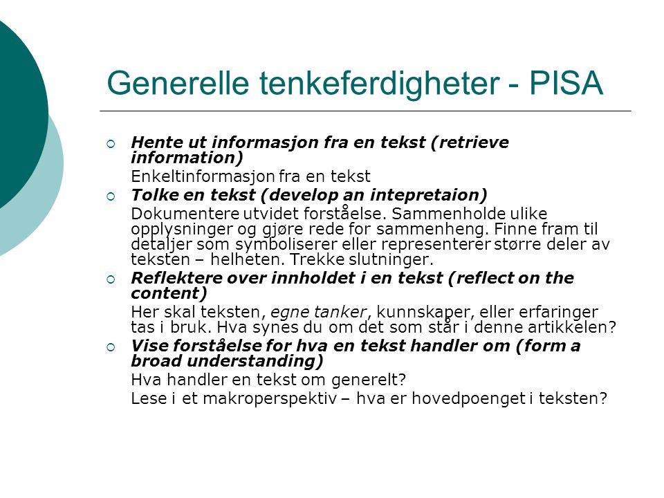 Generelle tenkeferdigheter - PISA