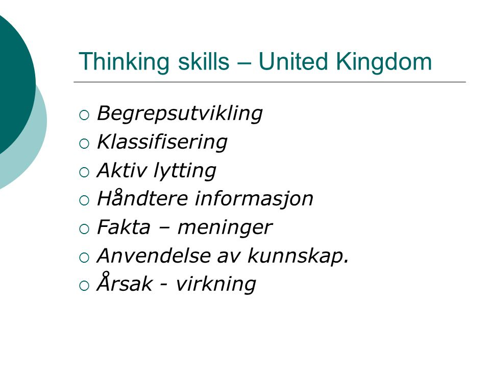 Thinking skills – United Kingdom