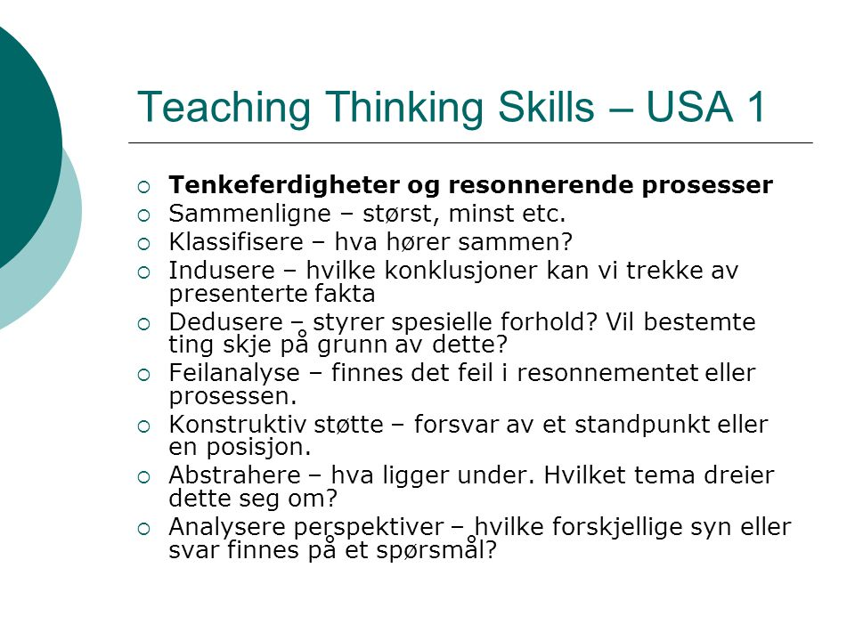 Teaching Thinking Skills – USA 1