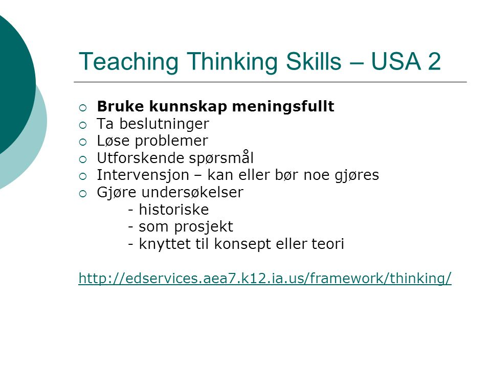 Teaching Thinking Skills – USA 2