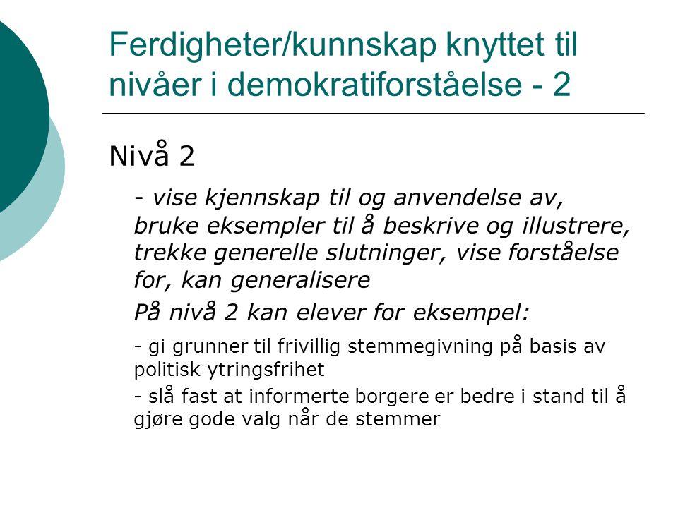 Ferdigheter/kunnskap knyttet til nivåer i demokratiforståelse - 2