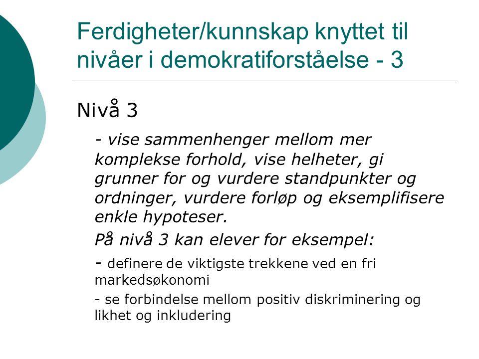 Ferdigheter/kunnskap knyttet til nivåer i demokratiforståelse - 3