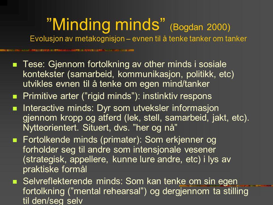 Minding minds (Bogdan 2000) Evolusjon av metakognisjon – evnen til å tenke tanker om tanker