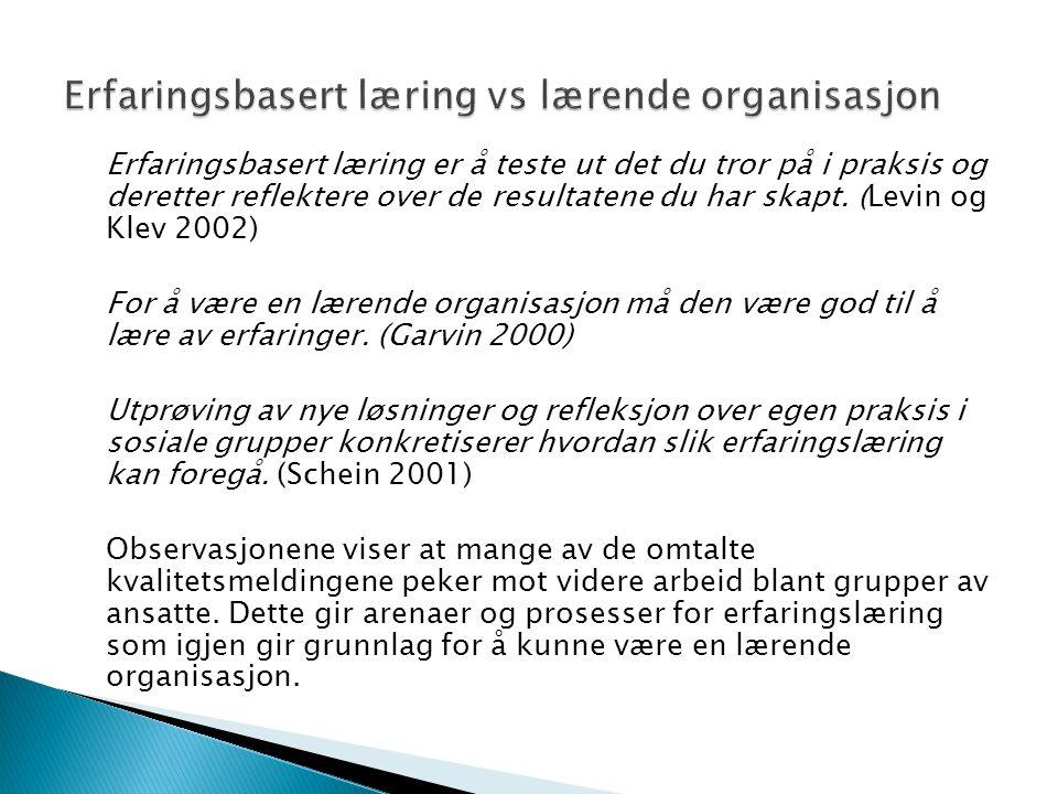 Erfaringsbasert læring vs lærende organisasjon
