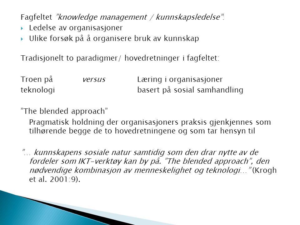Fagfeltet knowledge management / kunnskapsledelse :