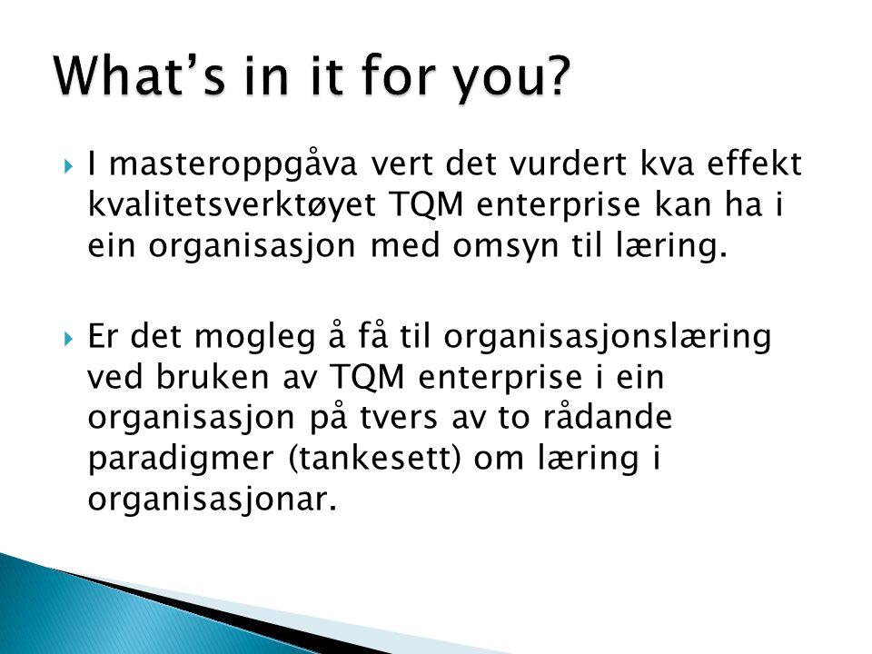 What's in it for you I masteroppgåva vert det vurdert kva effekt kvalitetsverktøyet TQM enterprise kan ha i ein organisasjon med omsyn til læring.