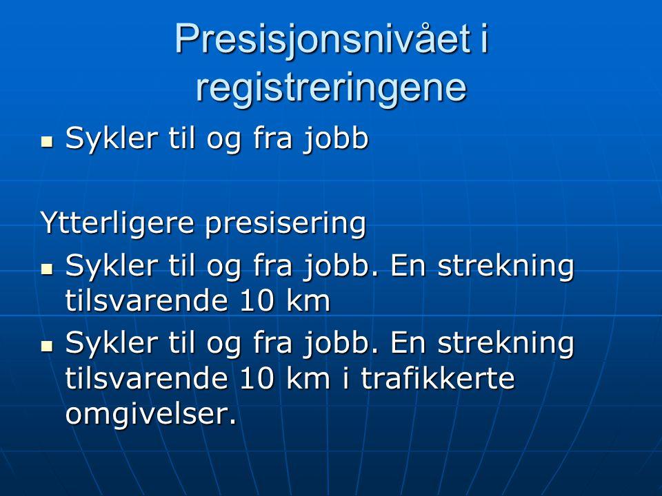 Presisjonsnivået i registreringene