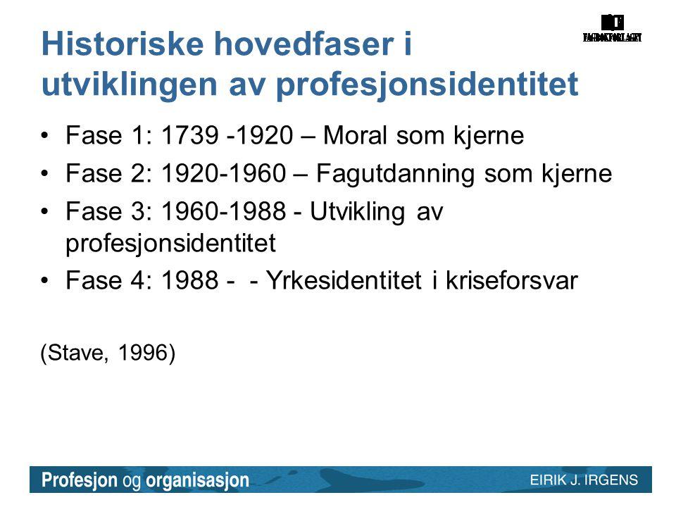 Historiske hovedfaser i utviklingen av profesjonsidentitet