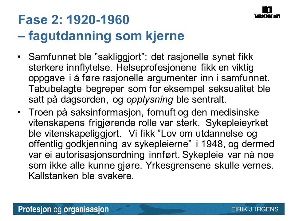 Fase 2: 1920-1960 – fagutdanning som kjerne