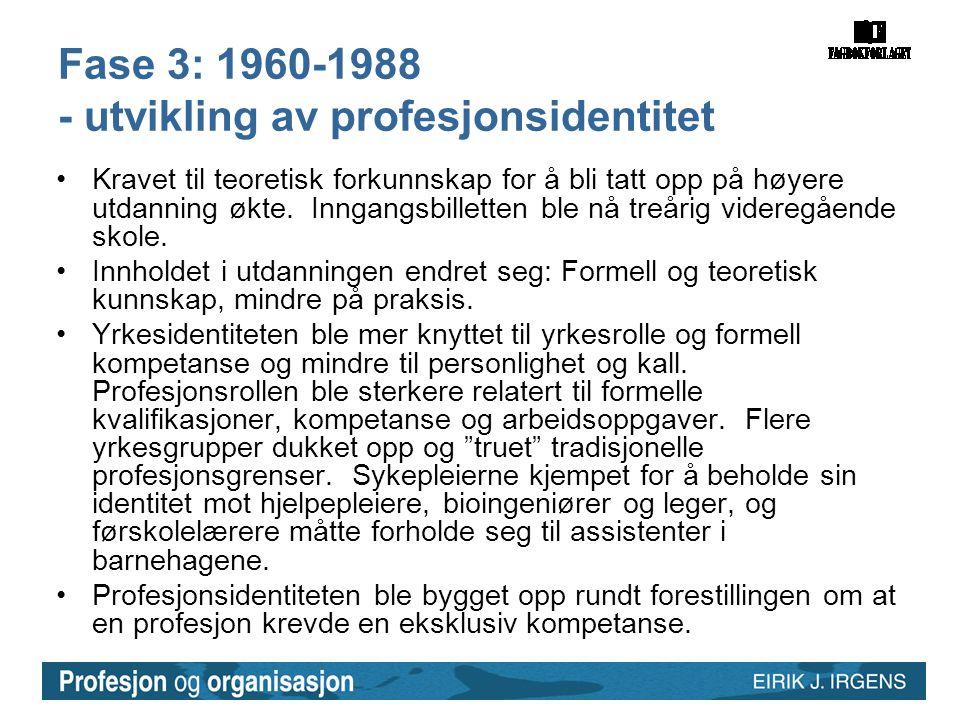 Fase 3: 1960-1988 - utvikling av profesjonsidentitet
