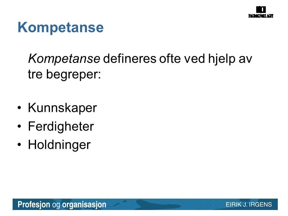 Kompetanse Kompetanse defineres ofte ved hjelp av tre begreper: