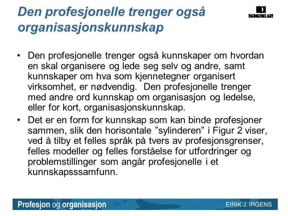 Den profesjonelle trenger også organisasjonskunnskap