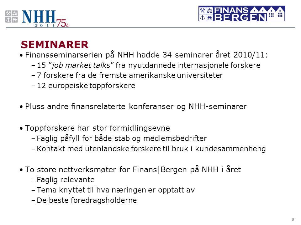 SEMINARER Finansseminarserien på NHH hadde 34 seminarer året 2010/11: