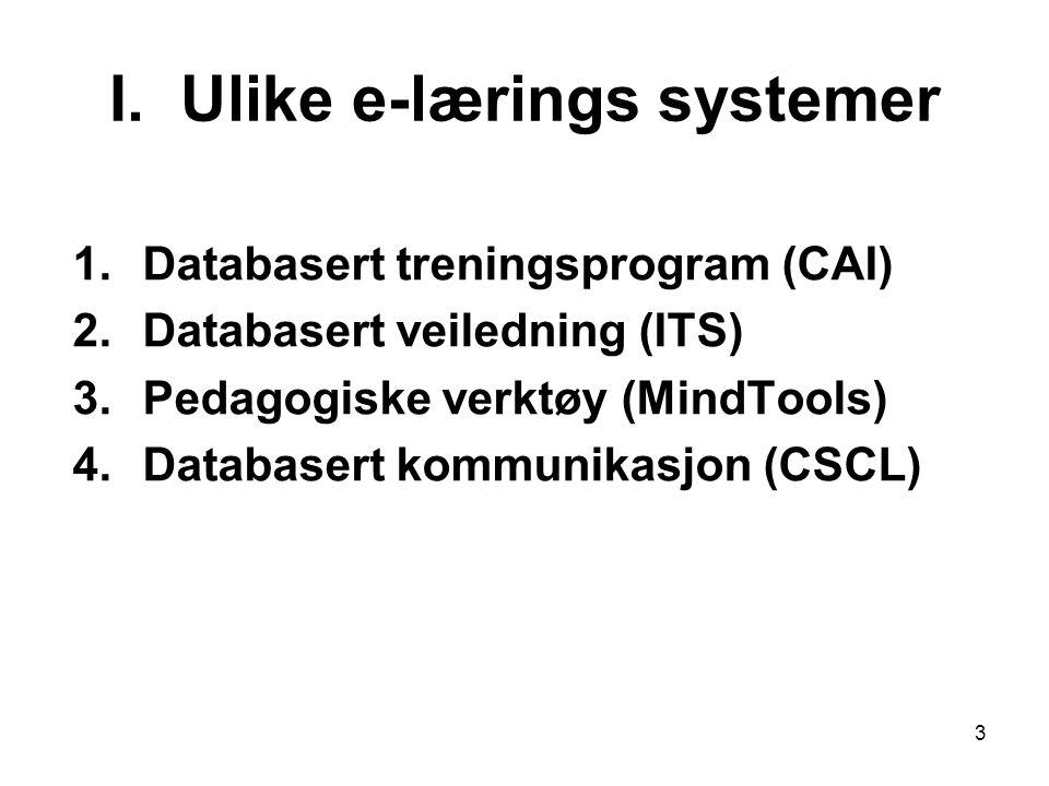 I. Ulike e-lærings systemer